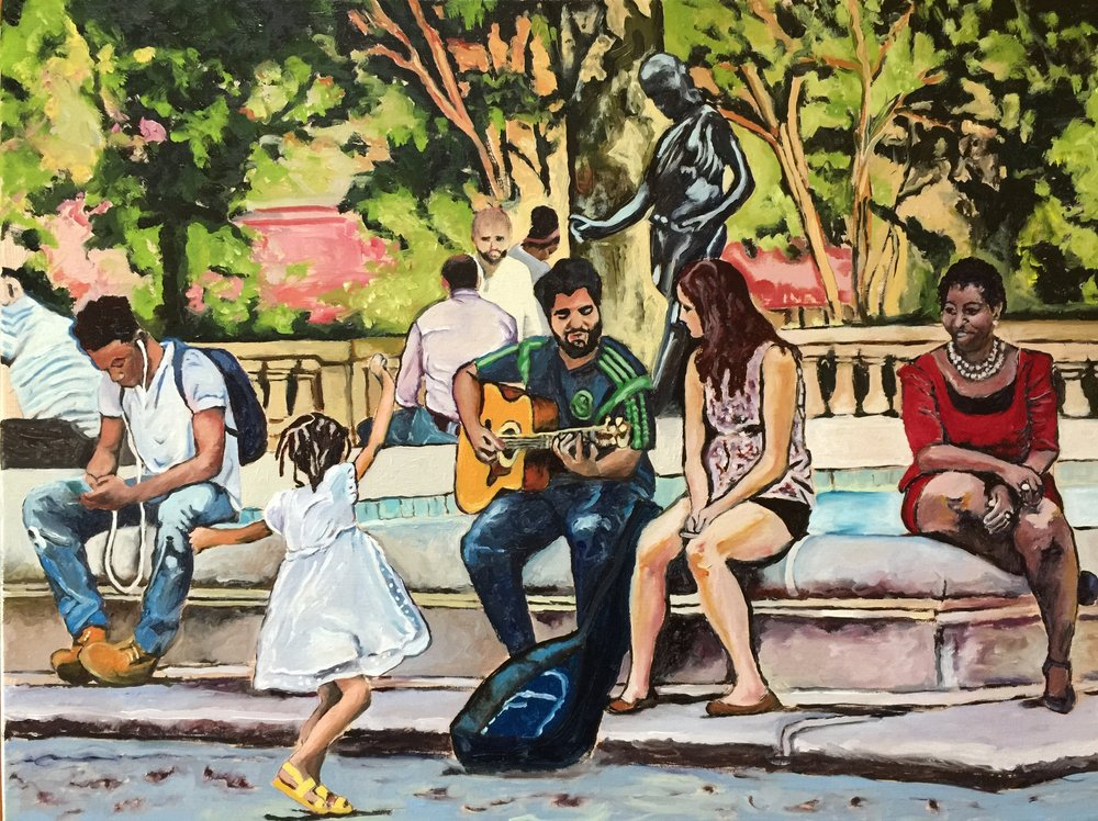 """Dancing at Rittenhouse Square"" 18x24 inches, oil on stretch linen canvas."