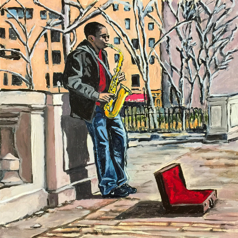"""Music in Rittenhouse Square,""  12x12 inch. Oil on Canvas Panel. Photo reference: Jonathan Yu. Saxophone musician, Jamal Hall."