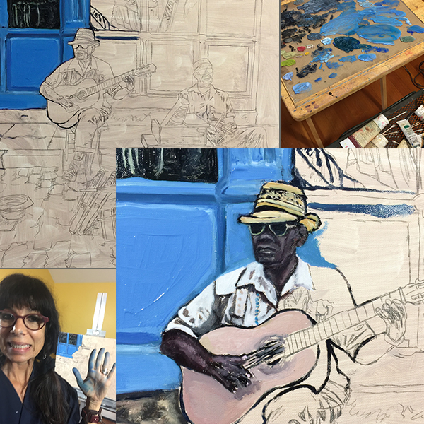 Work in Progress Photos - Music at the Merceria (Haberdashery), 18x24 inches, Oil on stretched linen canvas.