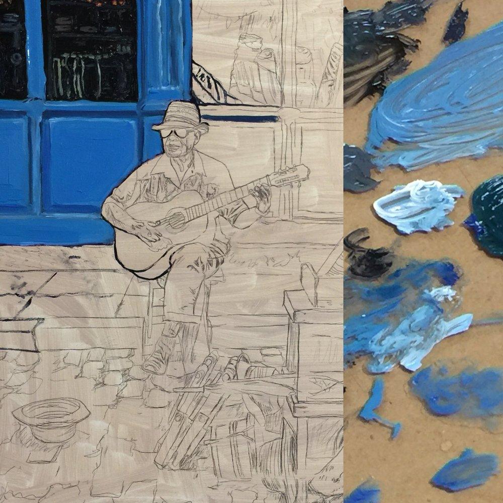 Palette - Old Havana Cuba Merceria Musicians Oil Painting