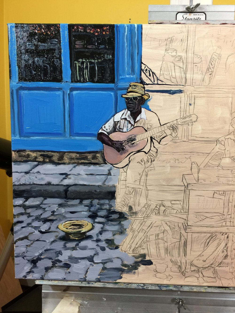 Palette - Old Havana Cuba Merceria Musicians Oil Painting Work in Progresss