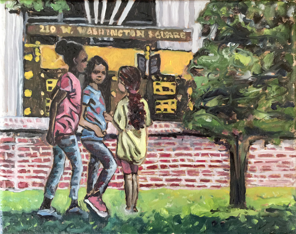 "Philadelphia Street Scene - - Washington Square Park. ""City Girls."" 8x10 inches. Oil on Stretched Canvas"