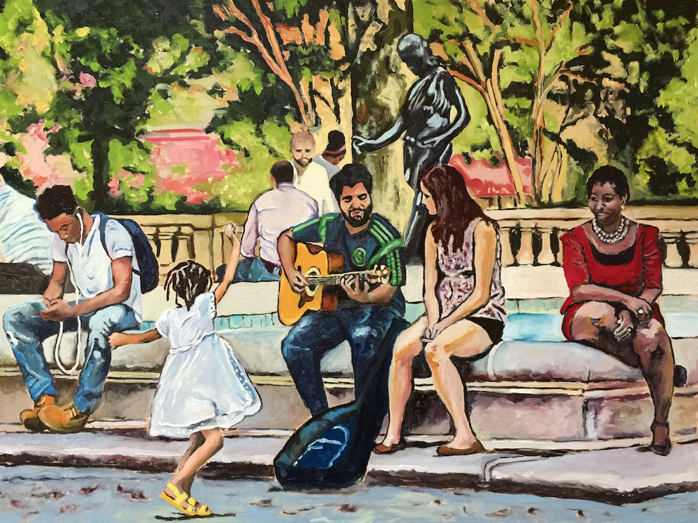 "Philadelphia Street Scene - Rittenhouse Square Park - ""Dancing at Rittenhouse Square"" - 18x24 inches. Oil on Stretched Canvas. Winner - Free Library of Philadelphia Cultureshare Honorarium."
