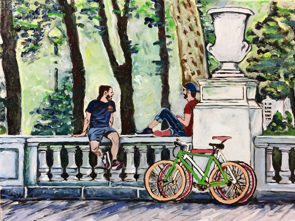 "Philadelphia Street Scene - Rittenhouse Square Park - ""Road Bikers Wallsitting at Rittenhouse Square"" - 12x16 inches. Oil on Stretched Canvas."