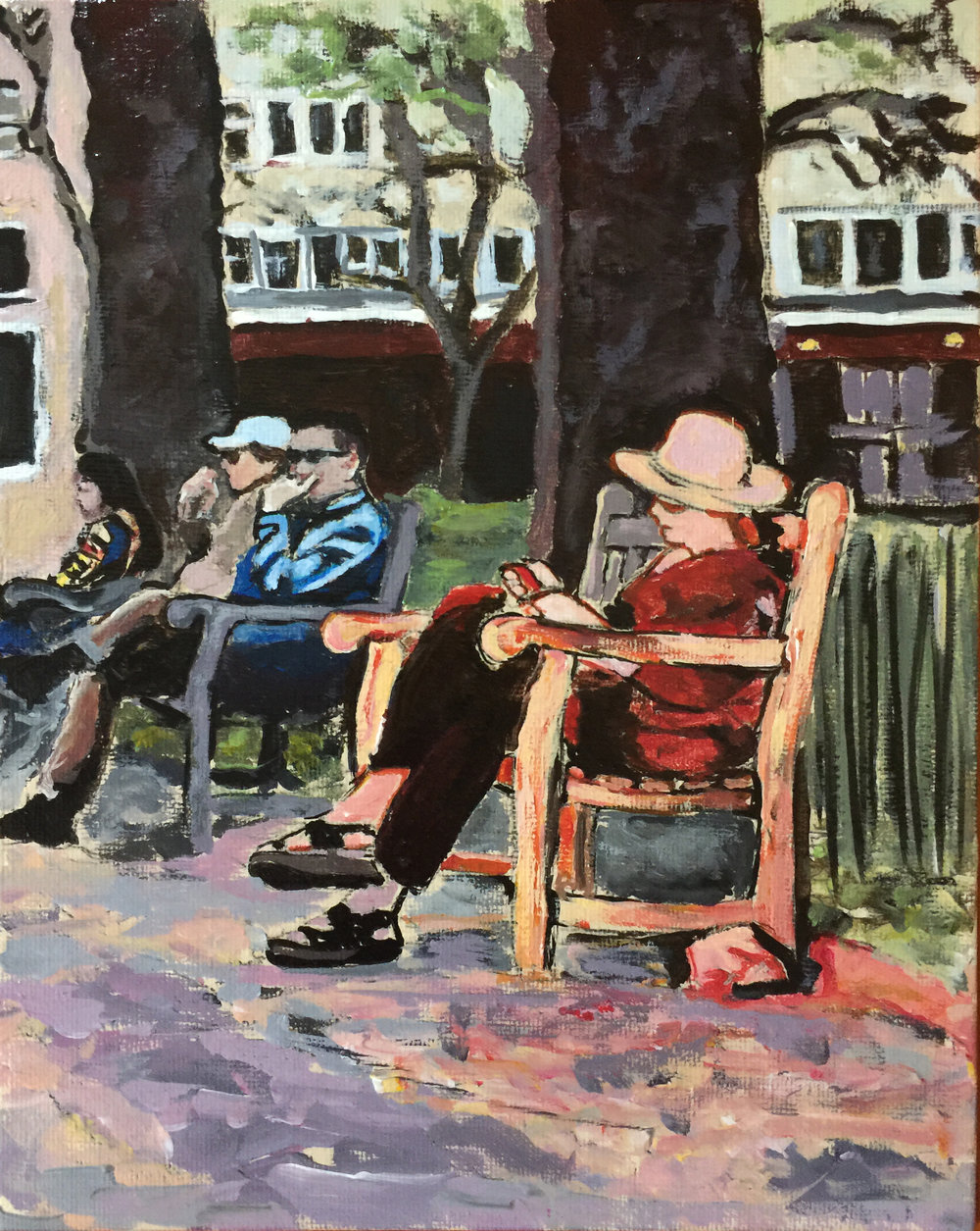 "Philadelphia Street Scene - Rittenhouse Square Park - ""Dusk at Rittenhouse Square"" - 8x10 inches. Acrylic on Canvas Panel."