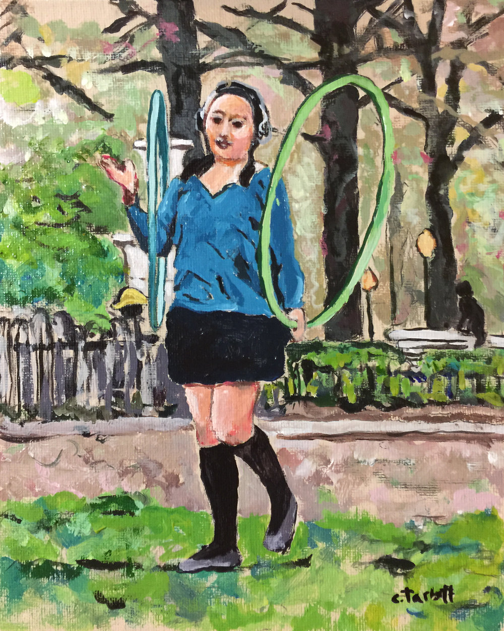 "Philadelphia Street Scene - Rittenhouse Square Park - ""Hooping at Rittenhouse Square"" - 8x10 inches. Acrylic on Canvas Panel."