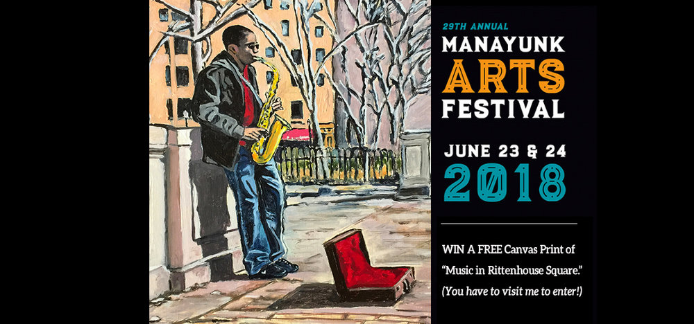 Join me at the Manayunk Arts Festival June 23-24, 2017