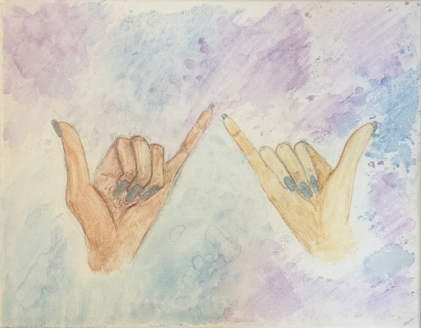"""Pinky Promise.""  16x12 inches. Watercolor Pencil on Stretched Canvas."