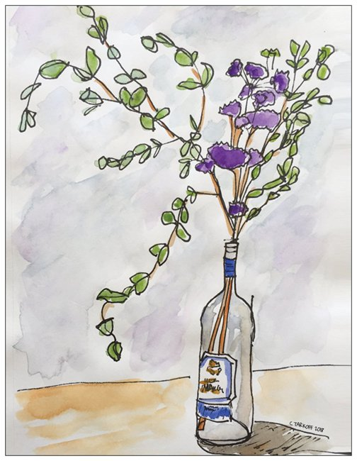 """ Wine Bottle with Purple Flowers ."" Front of Card"