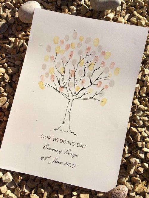 personalised wedding fingerprint tree sweetpea prints sweetpea prints