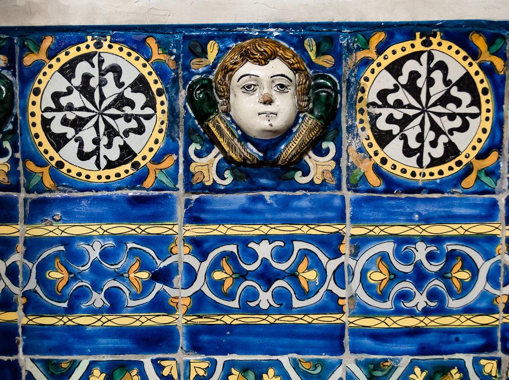Talavera Tile Detail, Church of Santo Domingo, Rosary Chapel,Puebla, Mexico