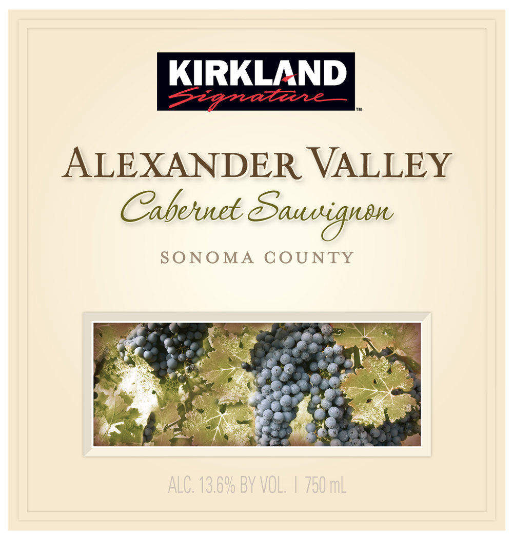 The Kirkland Signature Alexander Valley Cabernet Sauvignon is elegant and structured with a deep garnet color.  The complex aromas of plum and raspberry are enhanced by notes of espresso. The ripe, juicy palate displays bright cherry fruit, licorice and mocha while the rich fruit notes skillfully combine with firm oak tannins from 22 months of oak barrel aging.