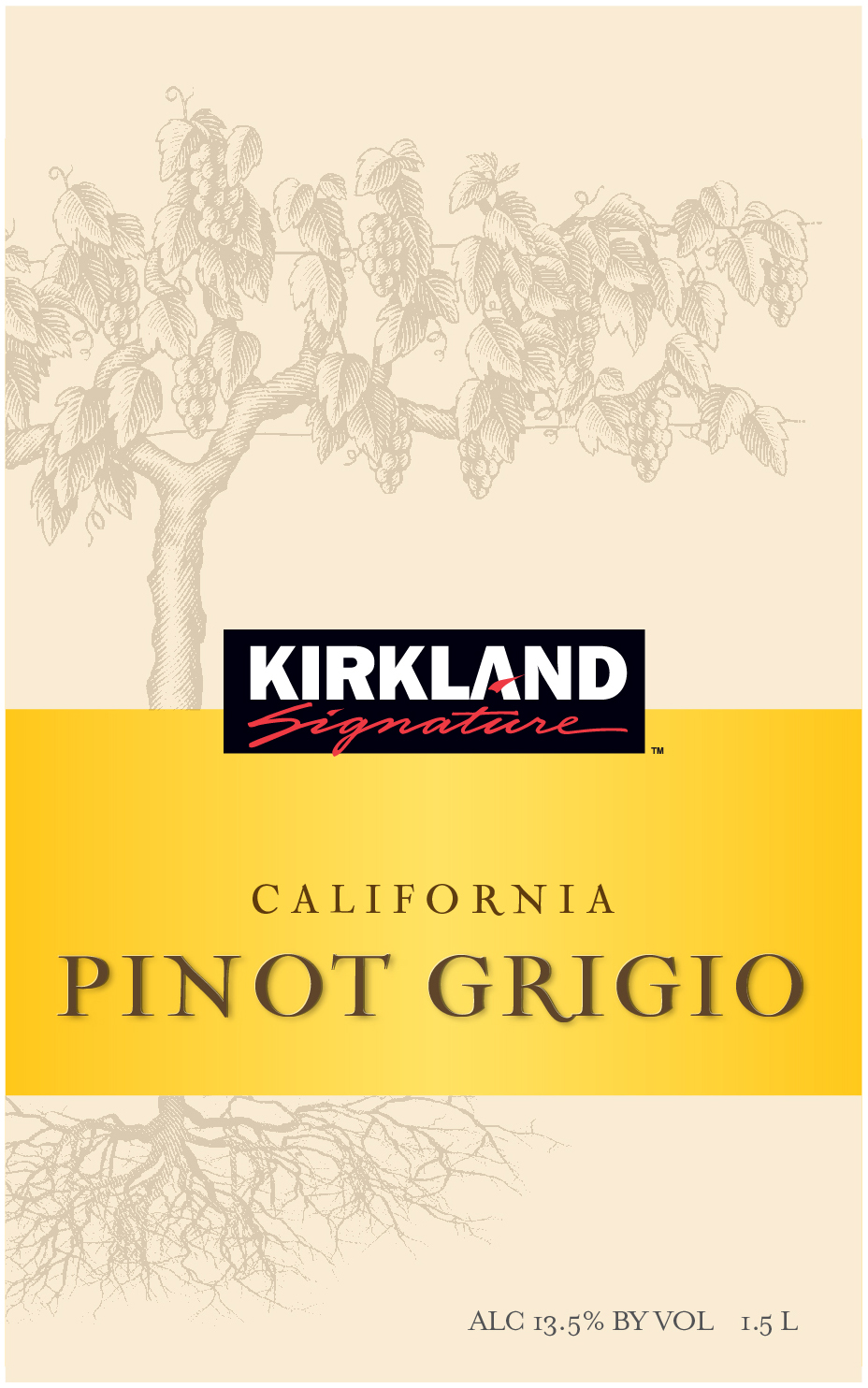 The Kirkland Signature California Pinot Grigio is 100% Estate Grown. This is a classic full-bodied Pinot Grigio with intense ripe fruit flavors of grapefruit and pineapple with a hint of mineral, finishing with notes of honey and apple.