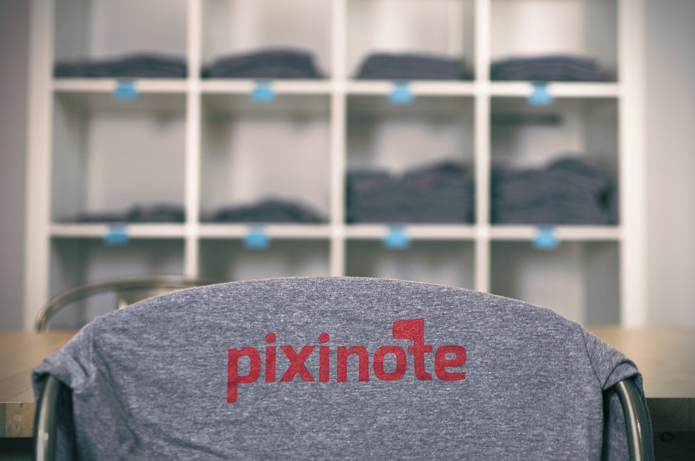 The first batch of Pixinote t-shirts arriving from our screen printer, Brendan