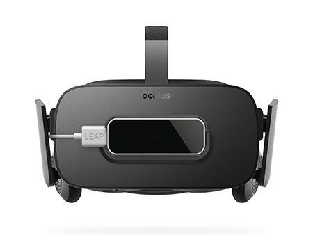 @@@@ Leap Motion Controller mounted on the Oculus Rift, front view @@ 安装在 Oculus Rift 上的 Leap Motion 控制器,前视图 @@ Oculus Riftに装着されたLeap Motion Controller、正面図 @@@@