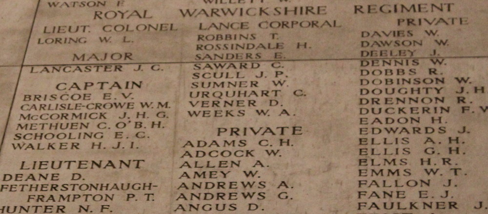 Panel 8 of the Menin Gate with H.J.I. Walker