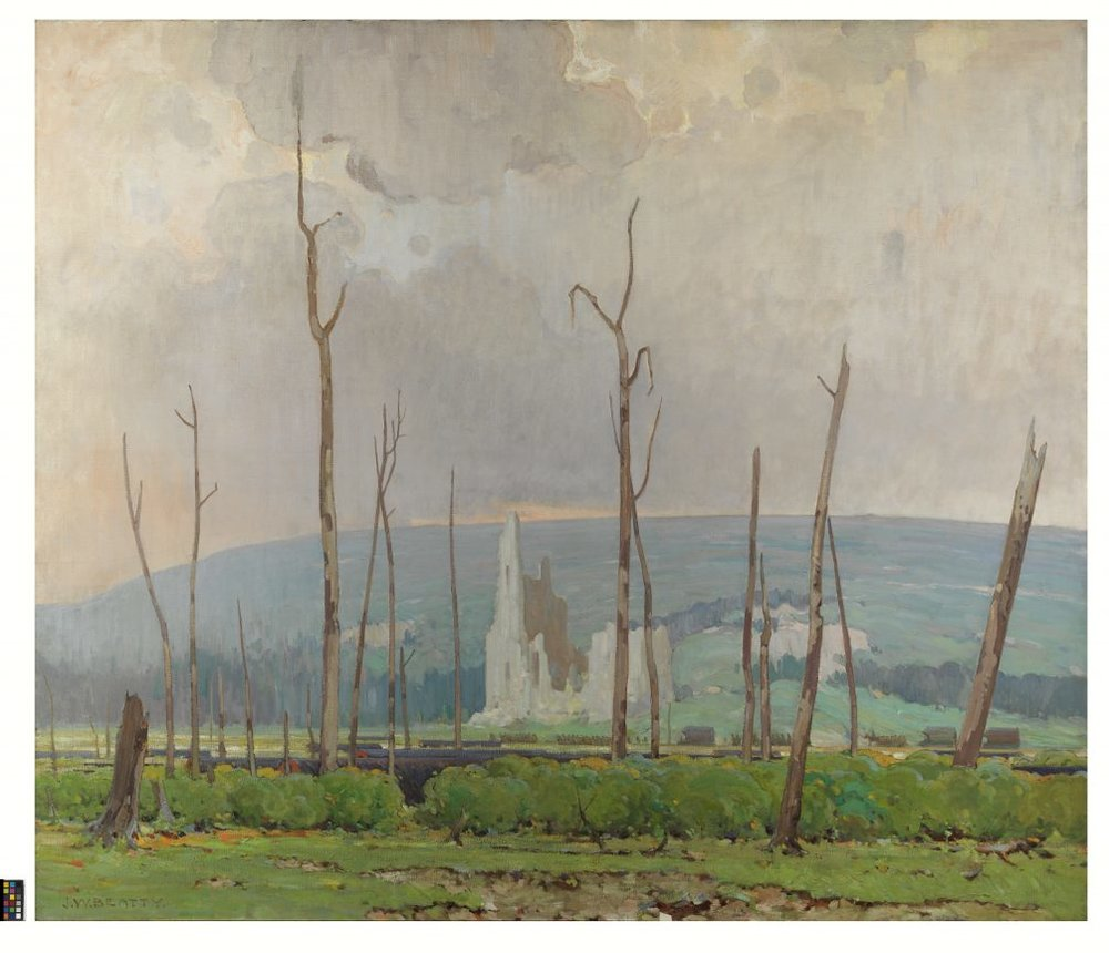 Ablain St-Nazaire, 1918, painting by John William Beatty, empoyed as an official war artist; image in Canadian War Museum Collection, Ottawa, Canada.
