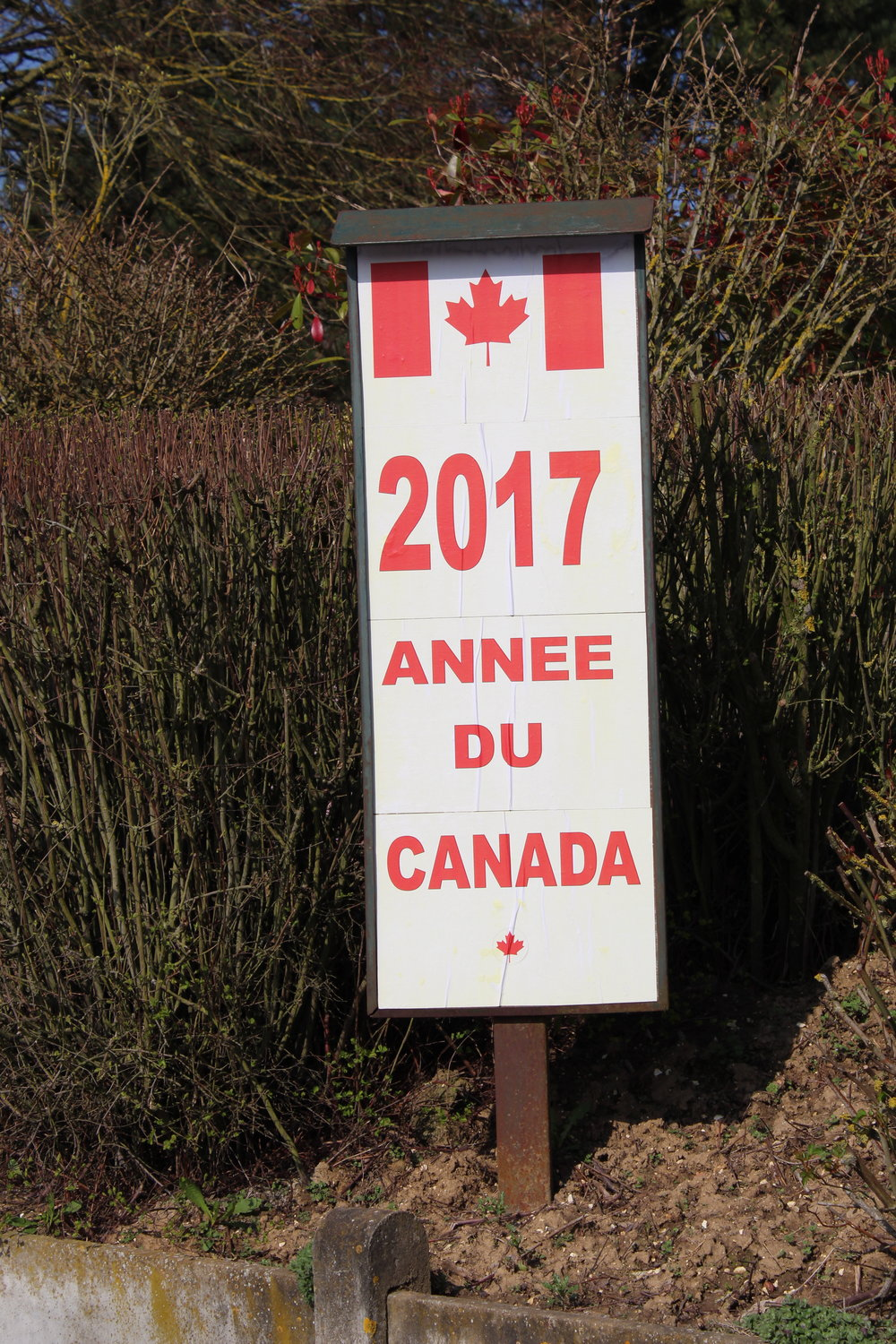 2017 is the Year of Canada: signs greet you at all entrances to the village.