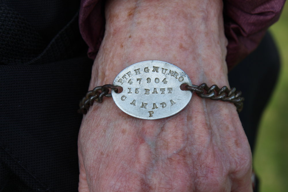 Anne's Great Uncle's personally made identification bracelet, 15th Battalion, Canadian Expeditionary Force.