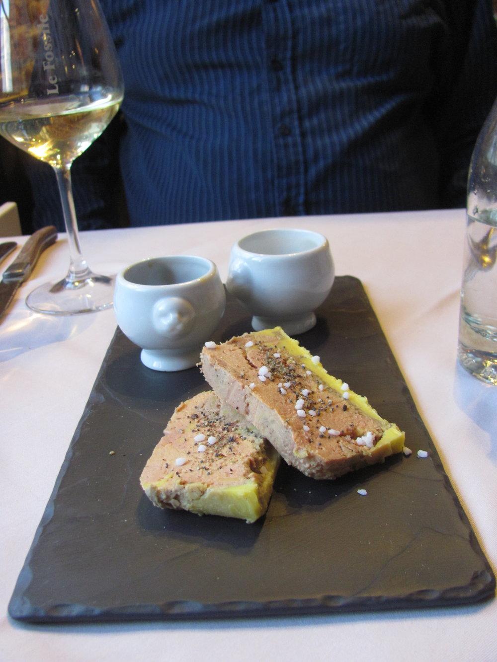 Slices of Foie Gras or  Foie Gras de Canard et ses Oignons Confits du Chef . Simple. Delicious.