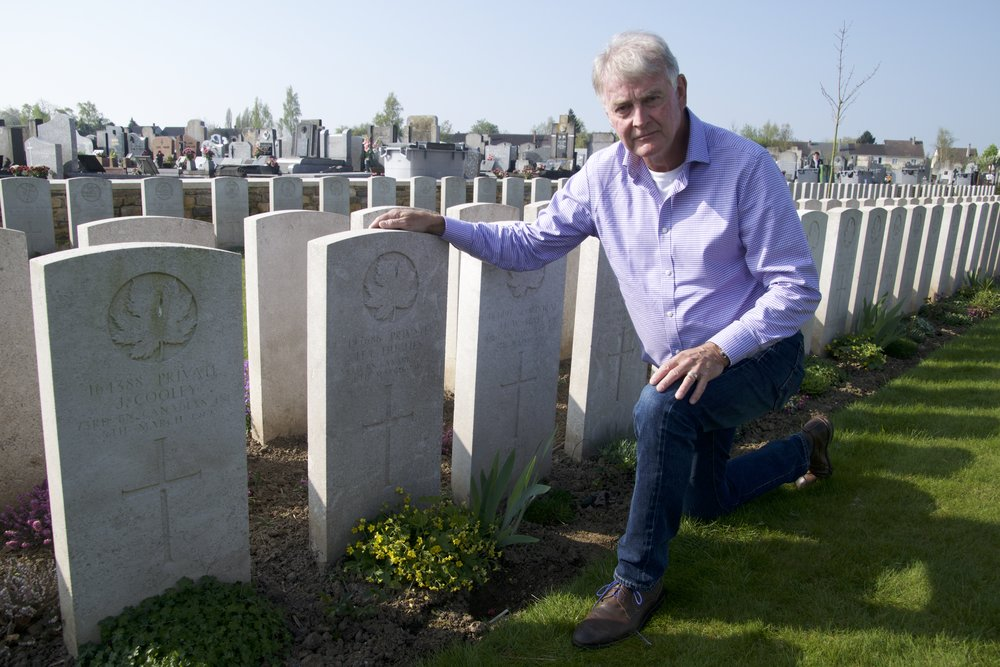 Robert Oldfield finds his great uncle's grave in Barlin Extension Commonwealth Cemetery