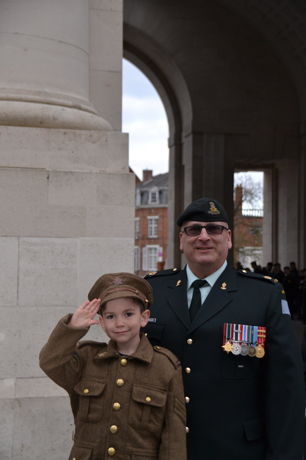 Mason ready with his granddad Len, for Menin Gate ceremony in Ypres, Belgium.