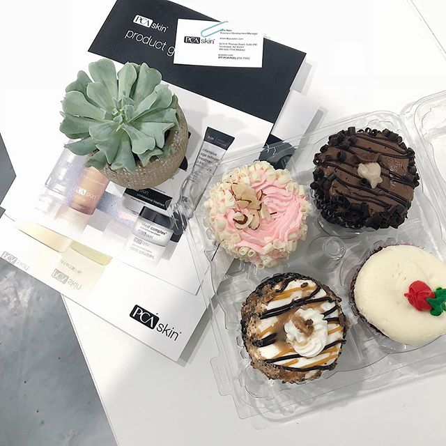 Meeting with our new @pcaskin rep: she brought us cupcakes, a cute succulent for the shop, and info on new products that will be launching! We love working with this company!