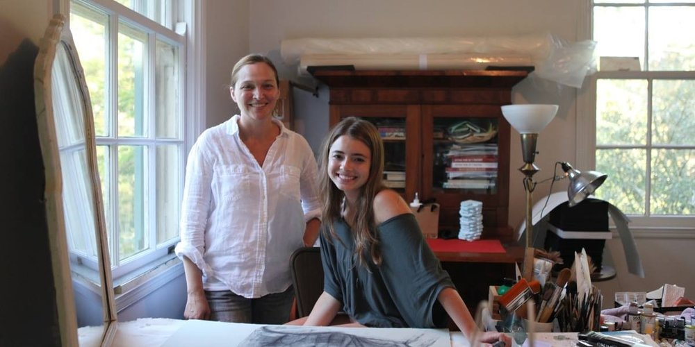 BRG artist member Dawn Black with 2017 Paul A. Dufour & Julia Dufour Richardson Scholarship honoree Elizabeth Hackenburg (University Lab School) inside Black's studio. (Photo courtesy of the Arts Council of Greater Baton Rouge)