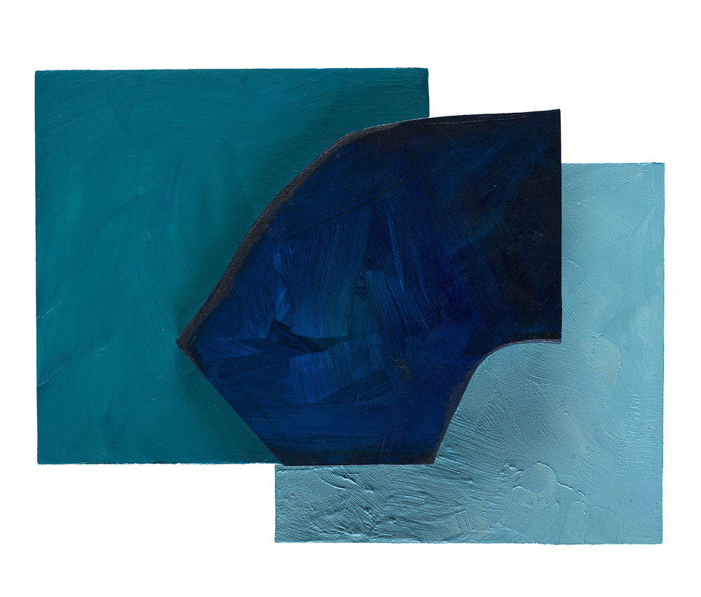 Kathleen Lemoine, Night and Day, acrylic on shaped panels, 12 x 16 in.