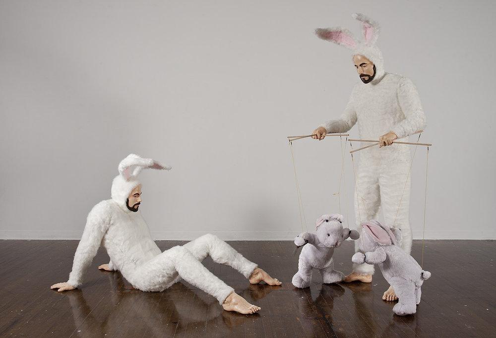 "Alex Podesta, ""Self-Portrait as Bunnies (How Things Work),"" mixed media sculpture, 90 x 96 x 42 in."