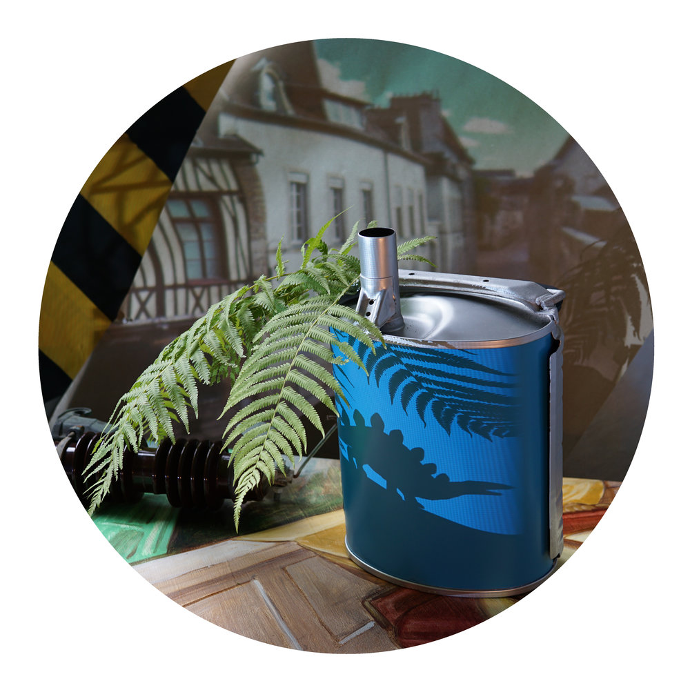 "Matt Morris, ""Fern and Muffler,"" digital c-print on panel, 30 in. diameter"