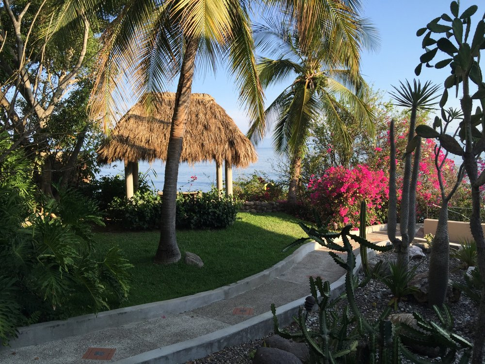 Honeymoon palapa in the 2 acre garden.