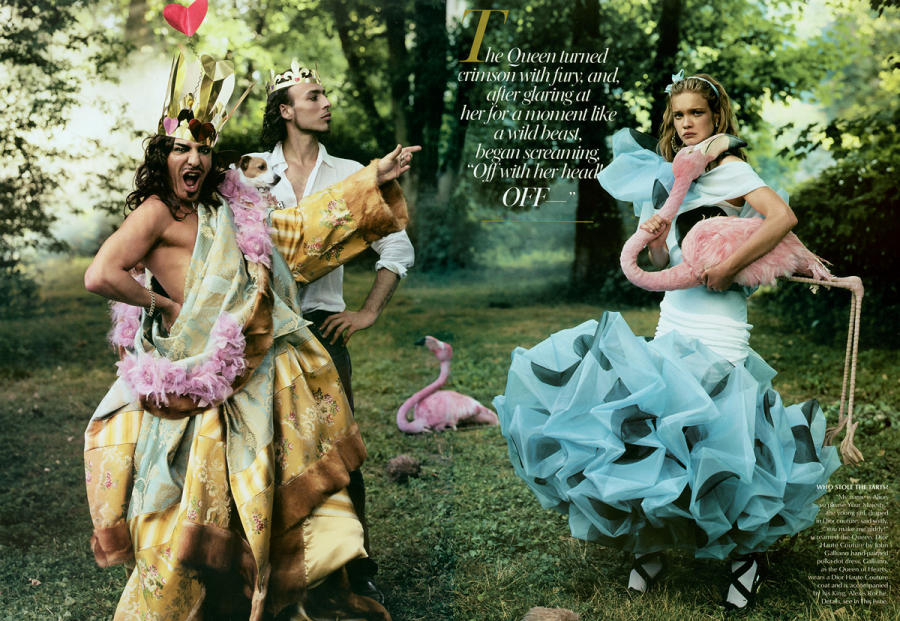 The shoot that sparked it all. Natalia Vodianova as Alice with John Galliano as the Queen of Hearts, photographed by Annie Leibovitz for Vogue.