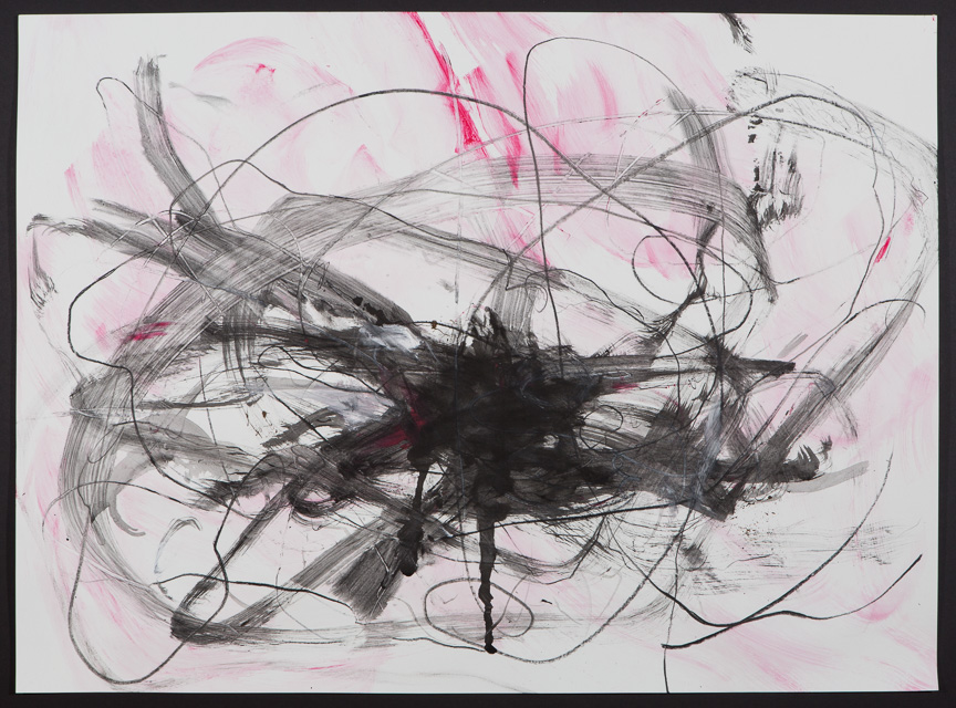 Untitled (pink + black, dark) 2015 22 x 30""