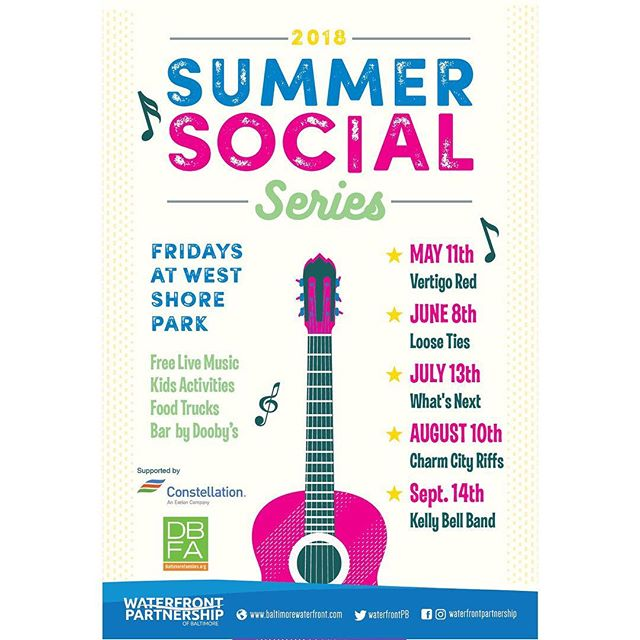 Mark your calendars! We will be playing the FIRST Friday (May 11th) of the Summer Social Series @ West Shore Park in Baltimore ☀️🎶 @waterfrontpartnership