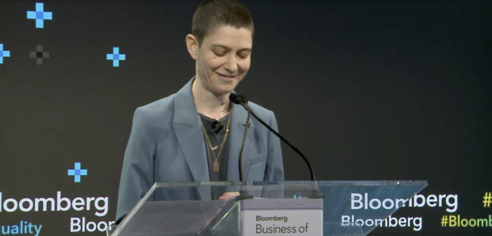Asia Kate Dillon speaking at Bloomberg