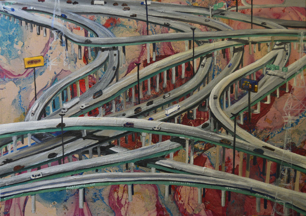 """Interchanges"", 36"" x 24"" oil and spray paint on canvas"