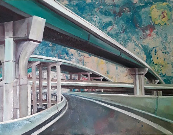 """Highway Driving"",  28"" x 22"", oil and spray paint on canvas"