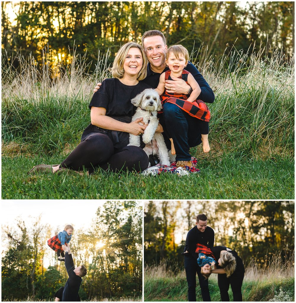 "We purposely waited to hold their family photo session close to Sunset and used one of my favorite locations for ""glowing field photos."""
