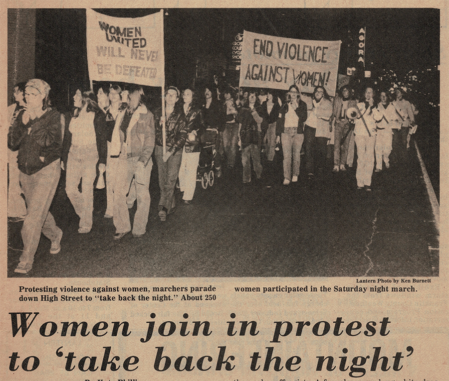 In 1978, The Ohio State University's publication,  The Lantern , captured this picture of Amy walking with protestors down High Street.