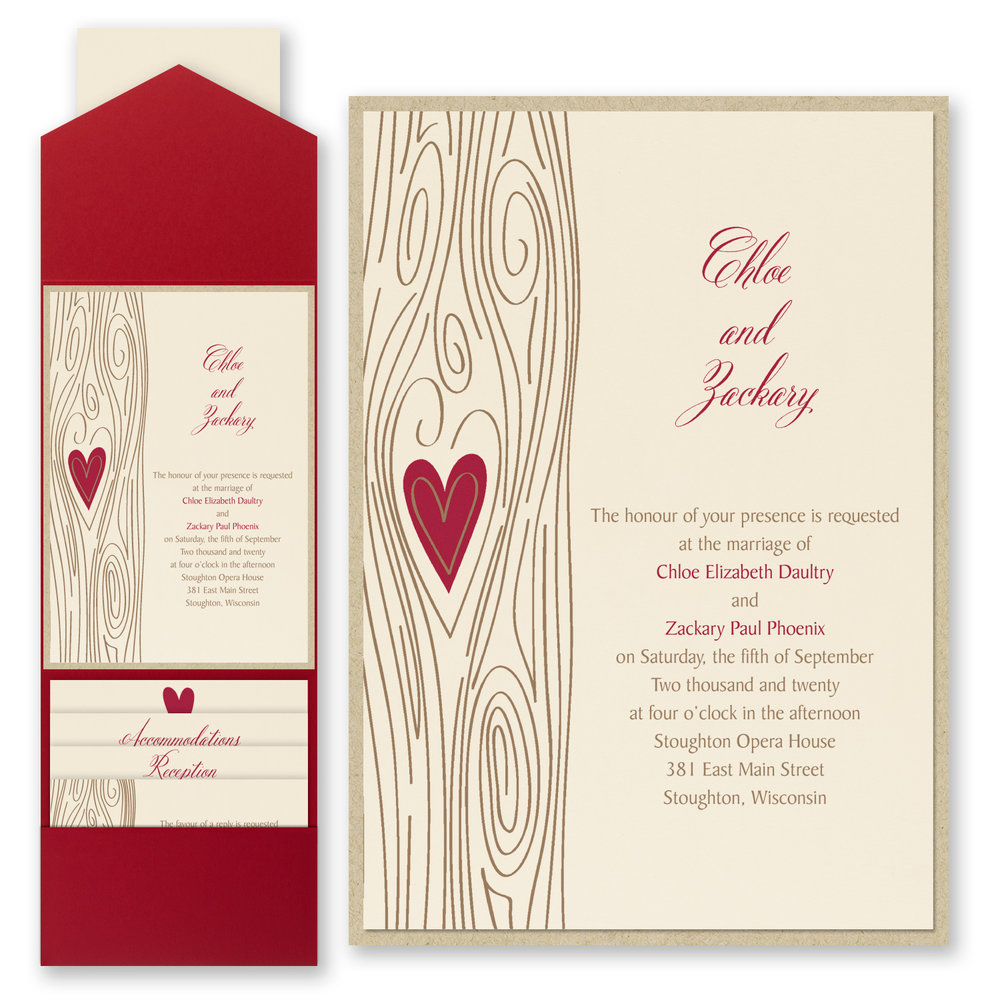 Woodsy Romance - Invitation with Pocket    Item Number:FBN53835B
