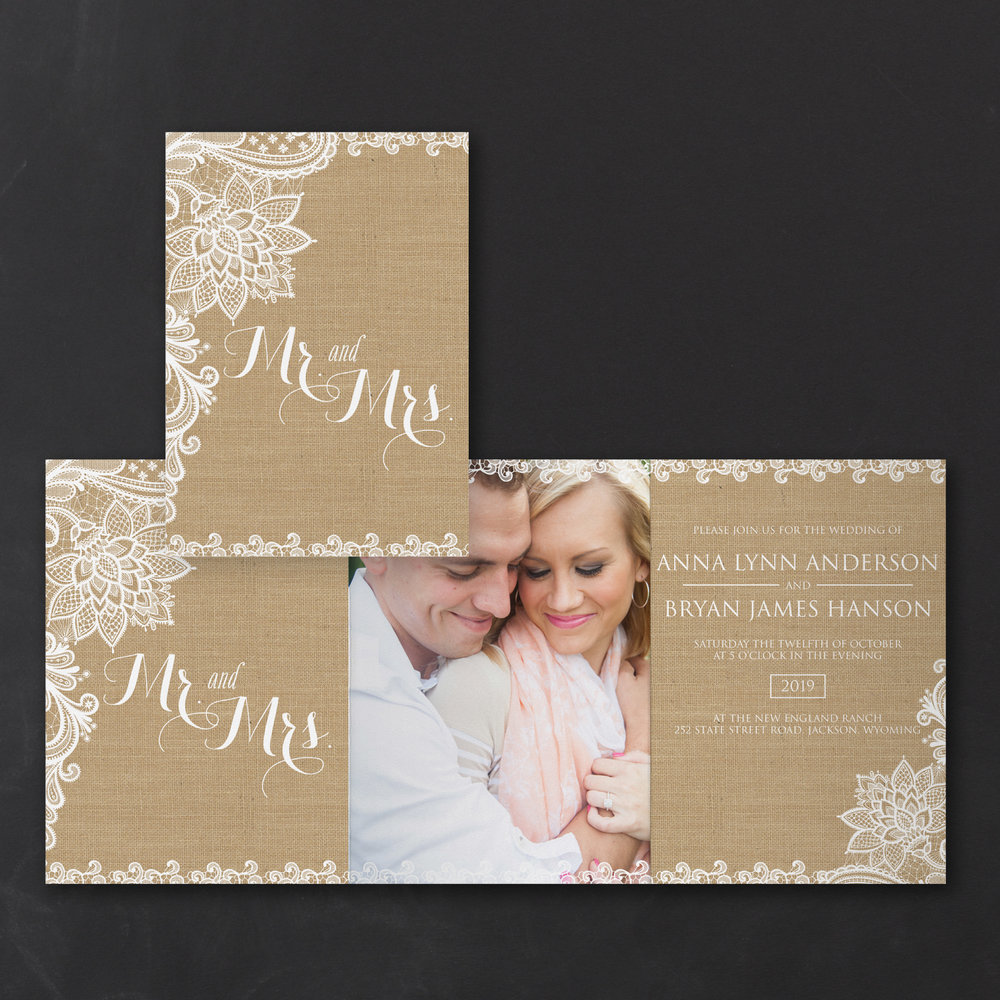Lacy Burlap - Photo Invitation    Item Number:TWS38616