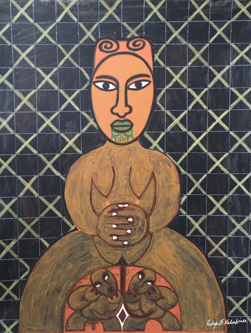 'Whaea/Mother 2016' by Robyn Kahukiwa. This work is  EXCLUSIVE to Toi Tangata Māori Art Gallery . Click   here   to learn more about this artwork.