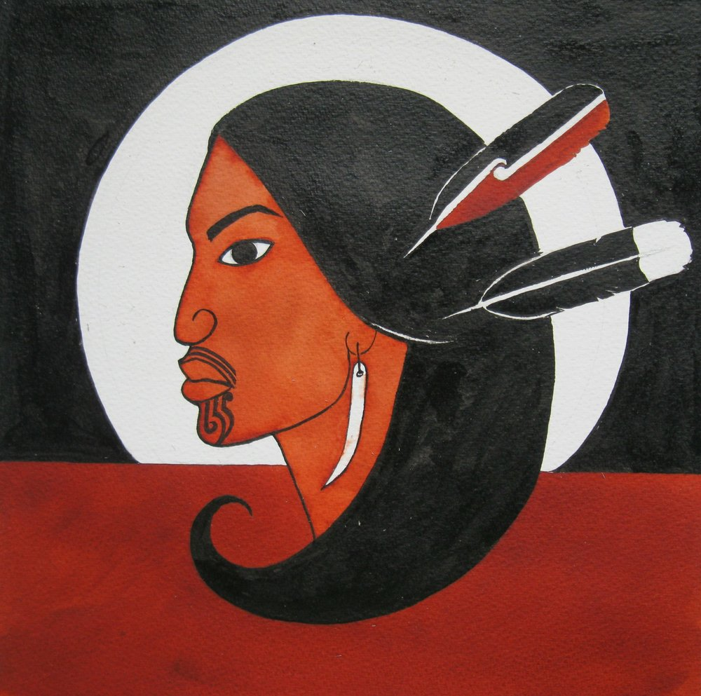 'Mana Wahine'  by Robyn Kahukiwa. Click   here   to learn more about this artwork.
