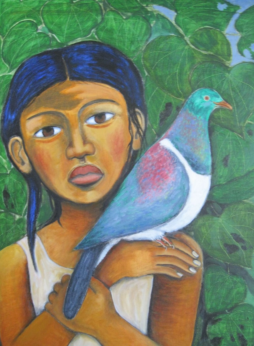 'Child with kereru'  by Robyn Kahukiwa. Click   here   to learn more about this artwork.