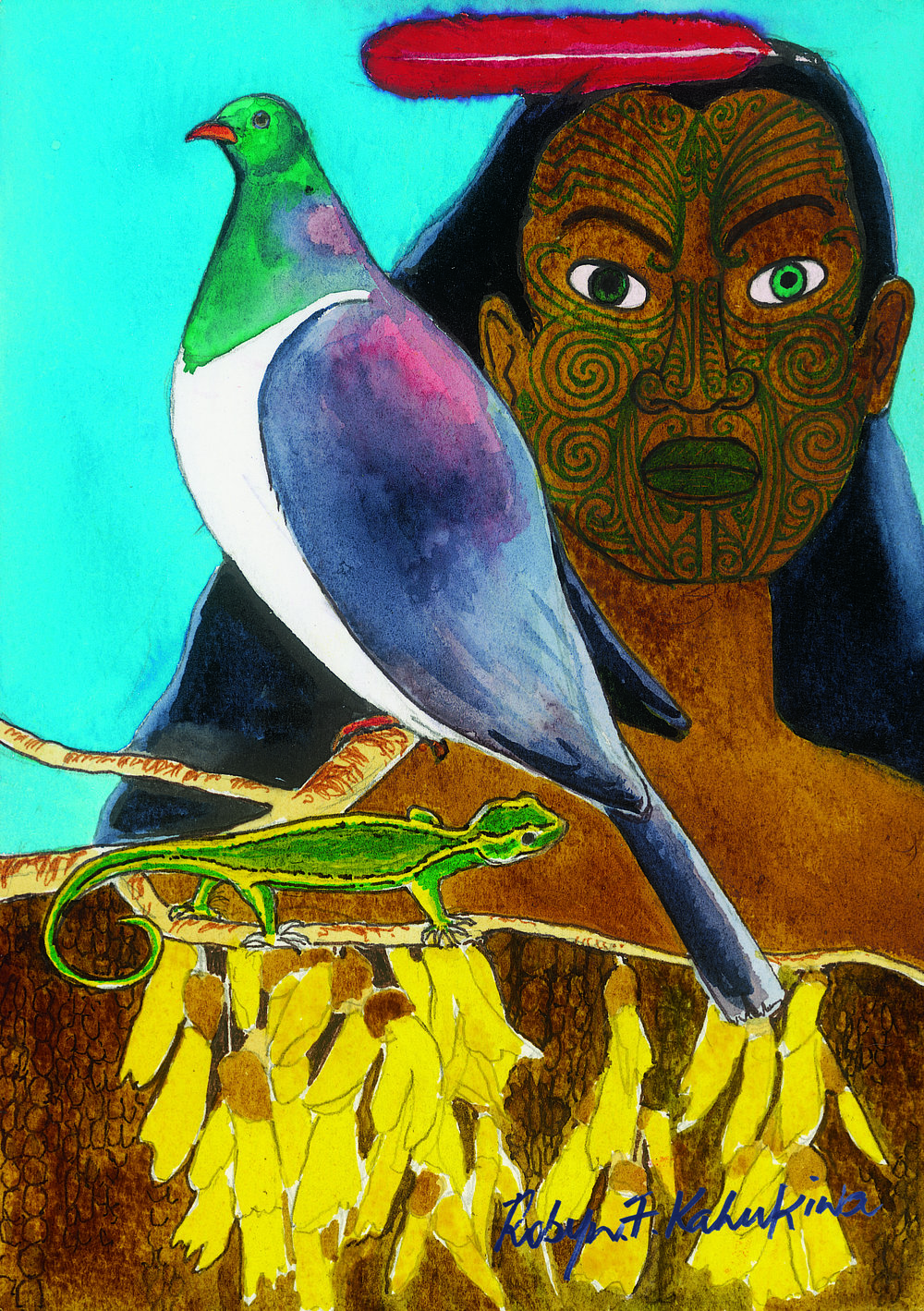'Maui'  by Robyn Kahukiwa. Click   here   to learn more about this artwork.