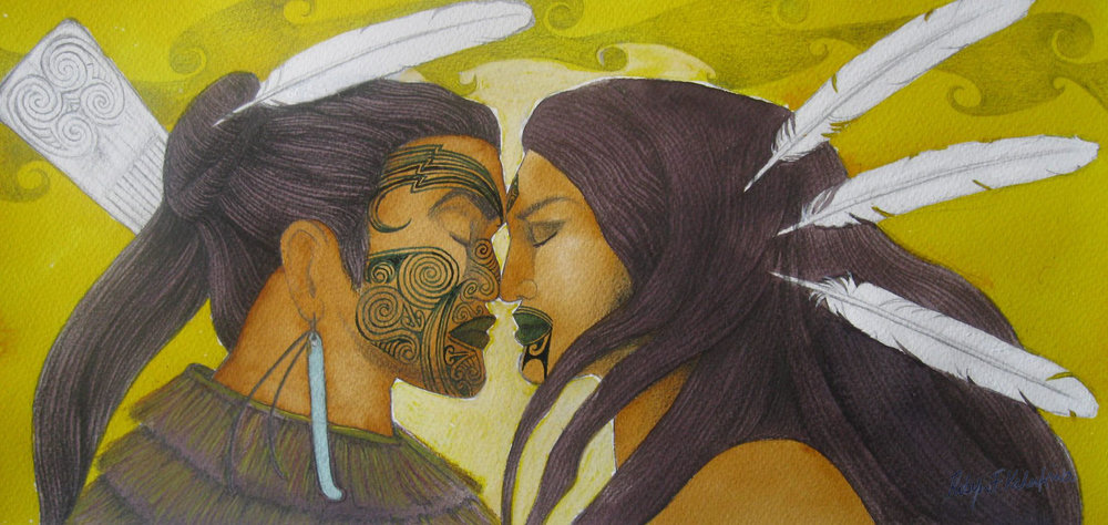 'Hongi'  by Robyn Kahukiwa. Click   here   to learn more about this artwork.