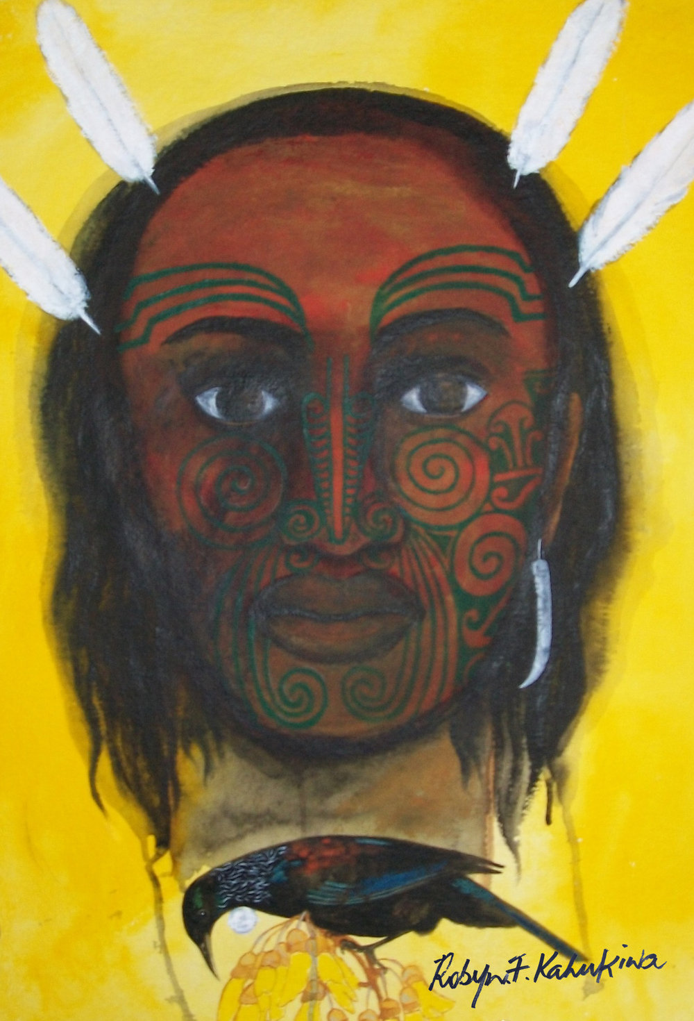 'He Rangatira'  by Robyn Kahukiwa. Click   here   to learn more about this artwork.
