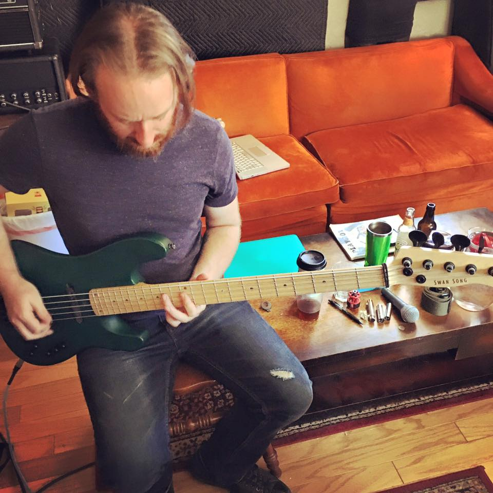 Jeff Lusby-Breault tracking some guitar (on a Swan Song Bass Guitar - www.swansongguitars.com) during recording sessions for their second LP, coming out in November 2016.