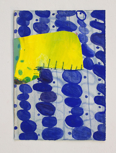 Linda Geary, Patch #5 2018 gouache, watercolor pencil, glue on paper 11 x 9.5in